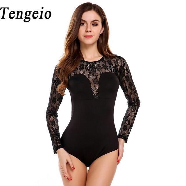 tengeio sexy lace bodysuit women raglan long sleeve sheer backless floral jumpsuit leotard. Black Bedroom Furniture Sets. Home Design Ideas