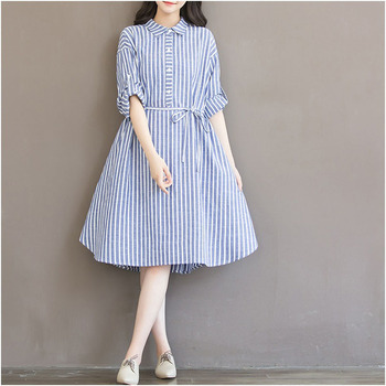 Autumn Maternity Dresses For Pregnant Women Loose Striped Long Sleeve Blouses Shirts Pregnancy Dresses Gravida Clothes Plus Size