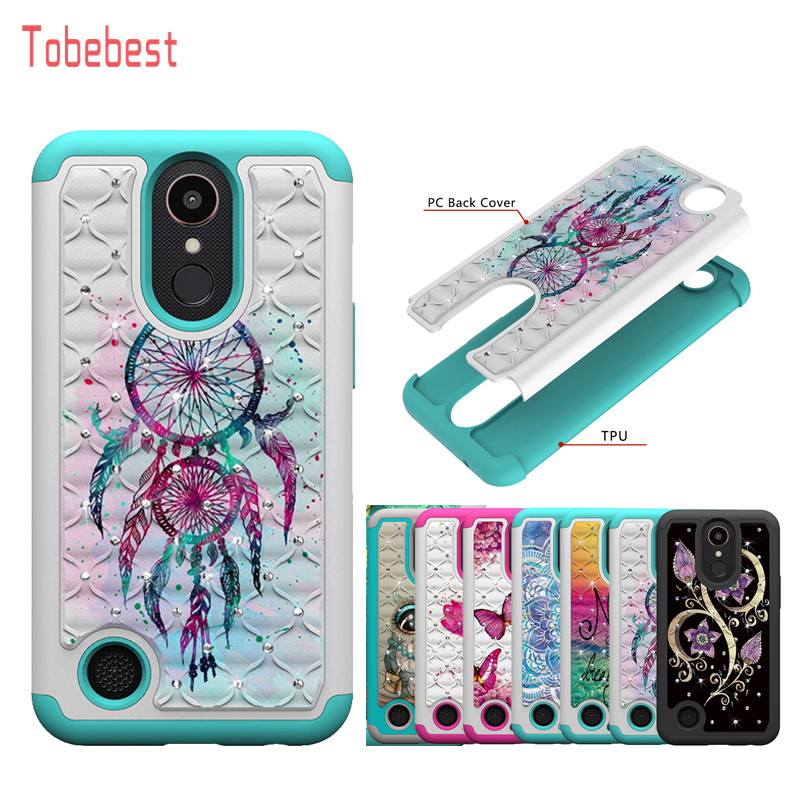 Cases For LG K10 2017 LV5 M250N Phone Case for LG K20 Plus Diamond Glitter Bling Painted Pattern Dual Layer PC TPU Back Cover