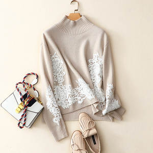 Pullovers Knitwear Sweater Women Long-Sleeves O-Neck Casual Simple-Design Ladies 2-Colors