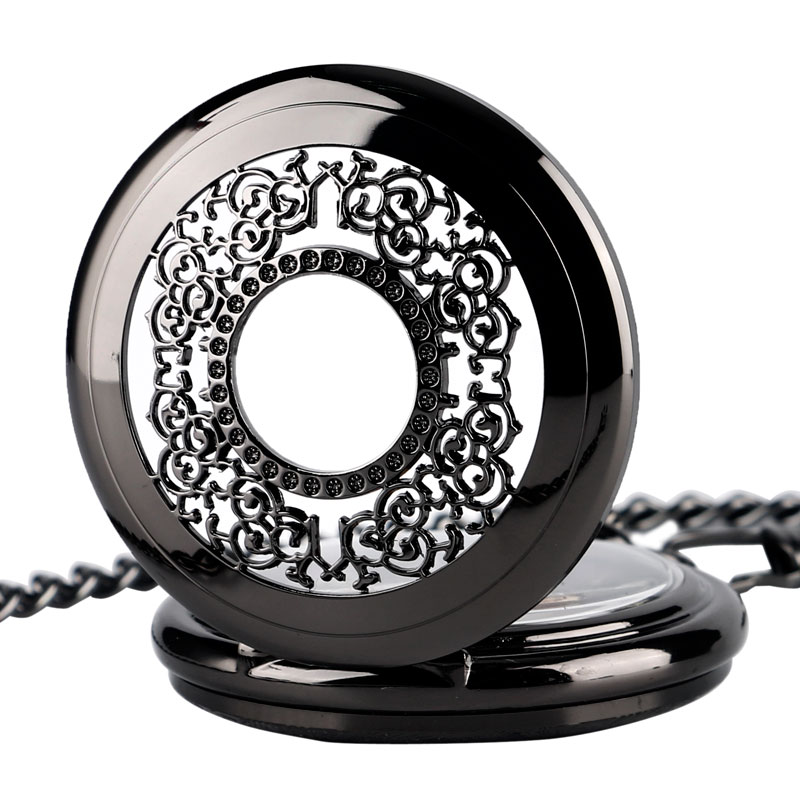 Classic Steampunk Mechanical Hand Winding Pocket Watch Exquisite Hollow Grilles Case Black Pendant With Fob Chain For Women Men