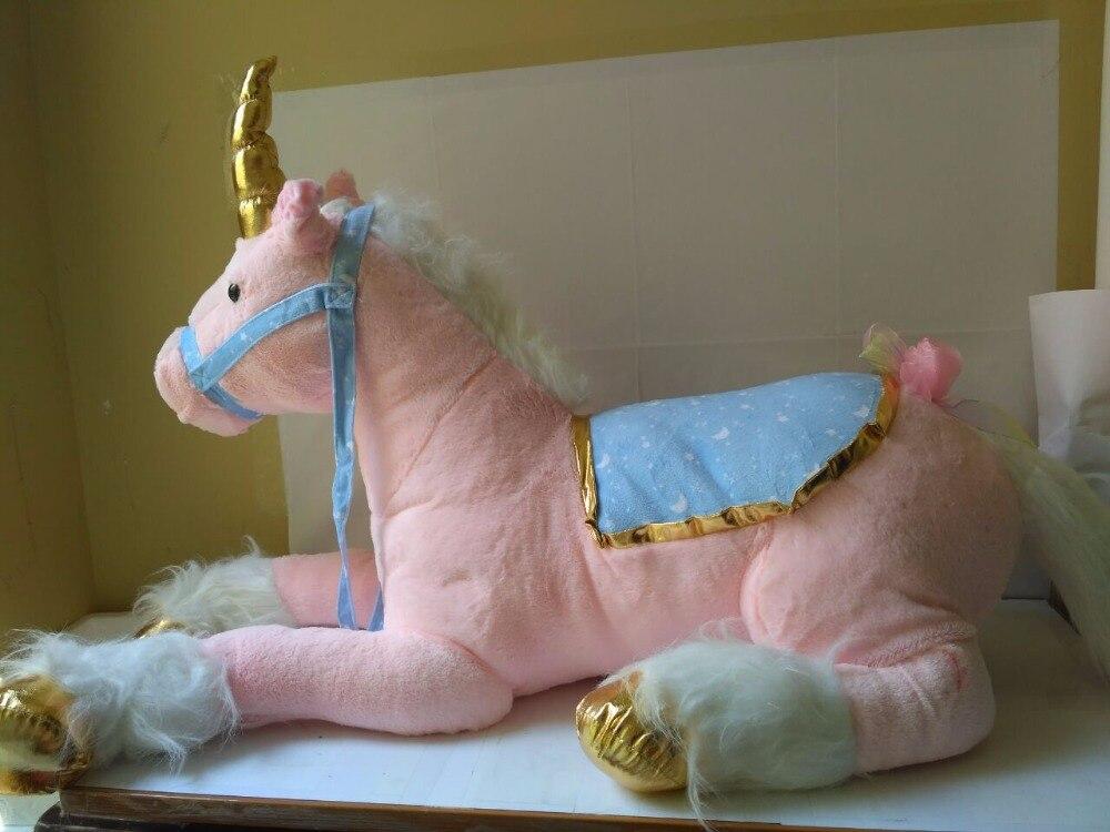 Peluche environ 85 cm couché licorne peluche jouet rose poupée haute qualité marchandises cadeau w652