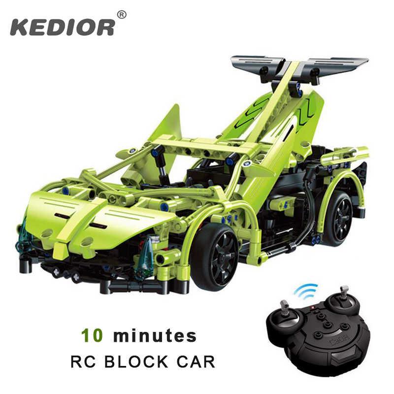 2,4G RC автомобиль пульт дистанционного управления блоки Строительный набор DIY Головоломка монтажные машинки на радиоуправлении с батареей 10 минут игры
