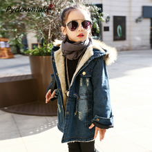 Fashion Children's Costumes Thicken Velvet Winter Girls Jacket Full Sleeve Kids Girls Jeans Coats & Denim Jackets Girls Outfits цены онлайн