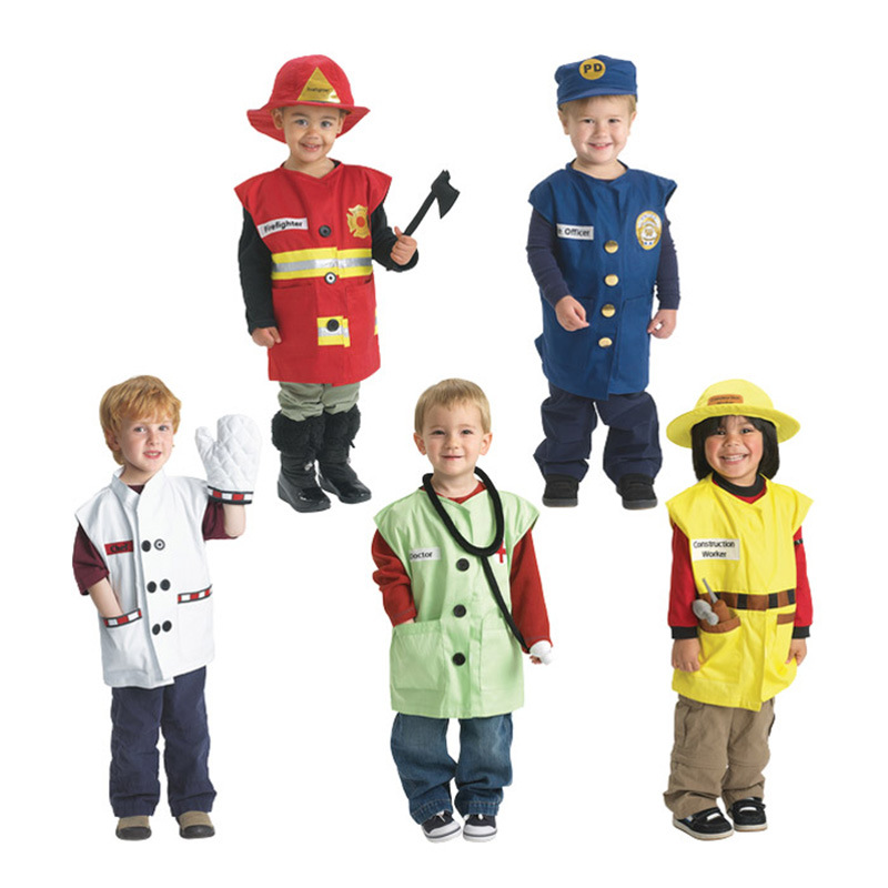 Chirldren Halloween Costumes Kid Play Clothes Fireman Doctor Engineer Cook Police Clothes Kids Role Professional Clothing Y603 kids baby doctor medical play set carry case education role play toy kitm43o