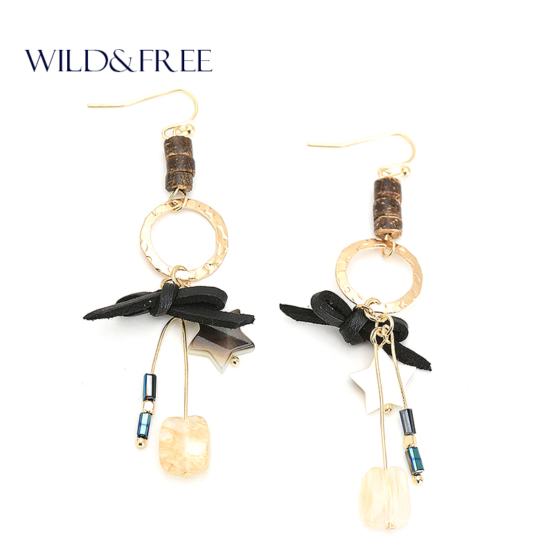 WILD & GRATIS Kvinnor Natural Stone Drop Earrings Gold Star Shell - Märkessmycken - Foto 1