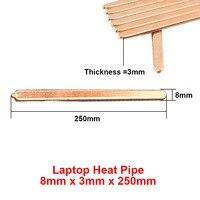2pcs Lot 8x3x250mm Flat Copper Heat Pipe Heat Sink Radiator Cooling Laptop CPU GPU Video Card