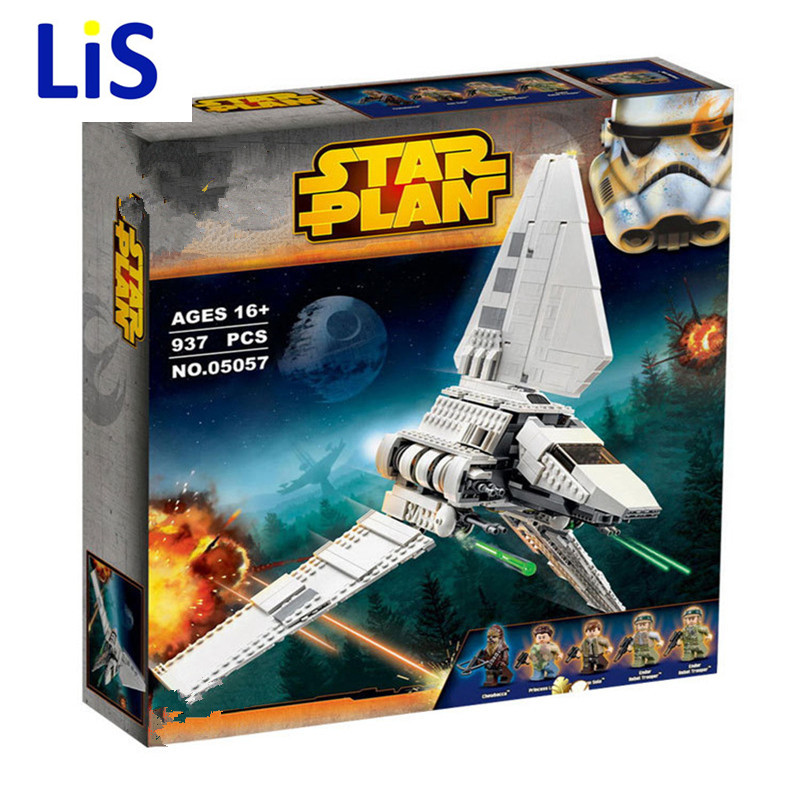 Lis Lepin 05057 937Pcs Star War Series The Imperial Shuttle Set Model Building Kit Blocks Bricks Toy Compatible Gift With 75094 lepin 22001 pirates series the imperial war ship model building kits blocks bricks toys gifts for kids 1717pcs compatible 10210