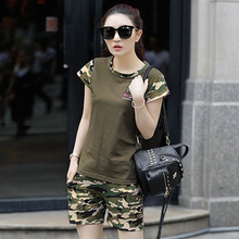 ZYFPGS 2019 Two Piece Set Women Summer Tops Tracksuit For Military Camouflage Print Popular Design 4XL SALE Z0712