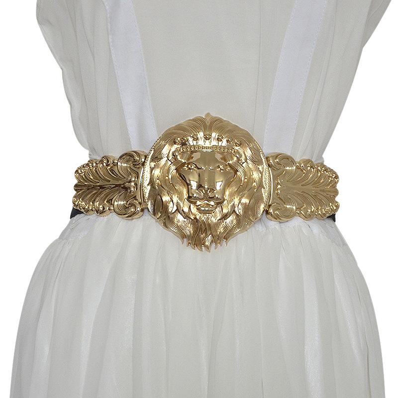 Golden Lion Head Women Girdle Metal Round Buckle Elastic Exaggeration   Belt   for Women's Black Waistband Gold Elastic Waist Seal