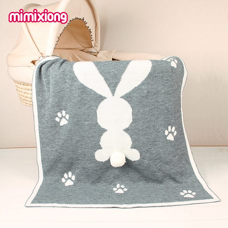 Baby Rabbit Swaddle Blanket Newborn Muslin Swaddling Wrap Blankets Winter Hand Knit Kids Boy Girl Animal Throwing Blanket Autumn flannel newborn baby swaddles blanket autumn organic color cotton boy girl infant wrap winter blankets swaddling soft bedding