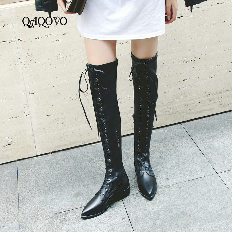 Cow Leather Stretch Over the Knee High