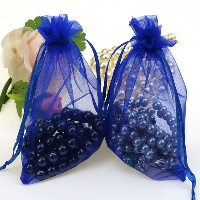 11x16cm Drak Blue Organza Jewelry Gift Bags Cheap Wedding Gift Bags Coffee Beans Customized Logo Printing 100pcs/lot Wholesale