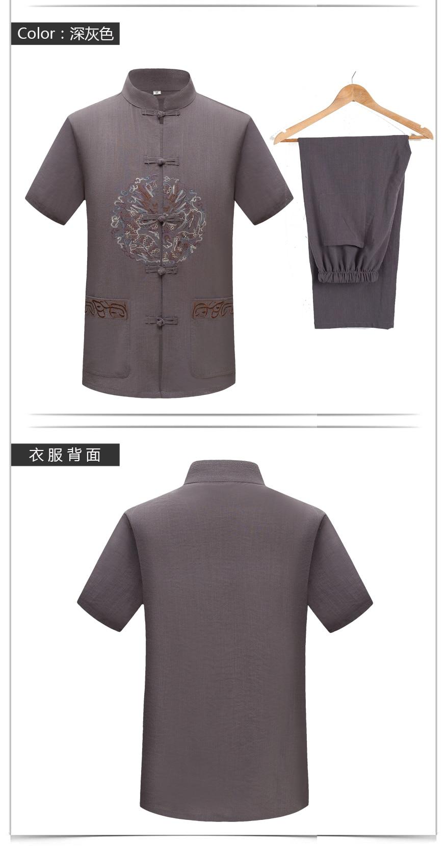 WAEOLSA Men Ethnical Shirt And Pant Suits Black Dark Gray Twinset Man Linen Tang Tunic and Trouser Set Male Oriental 2PCS Pant Suits Set Summer (5)