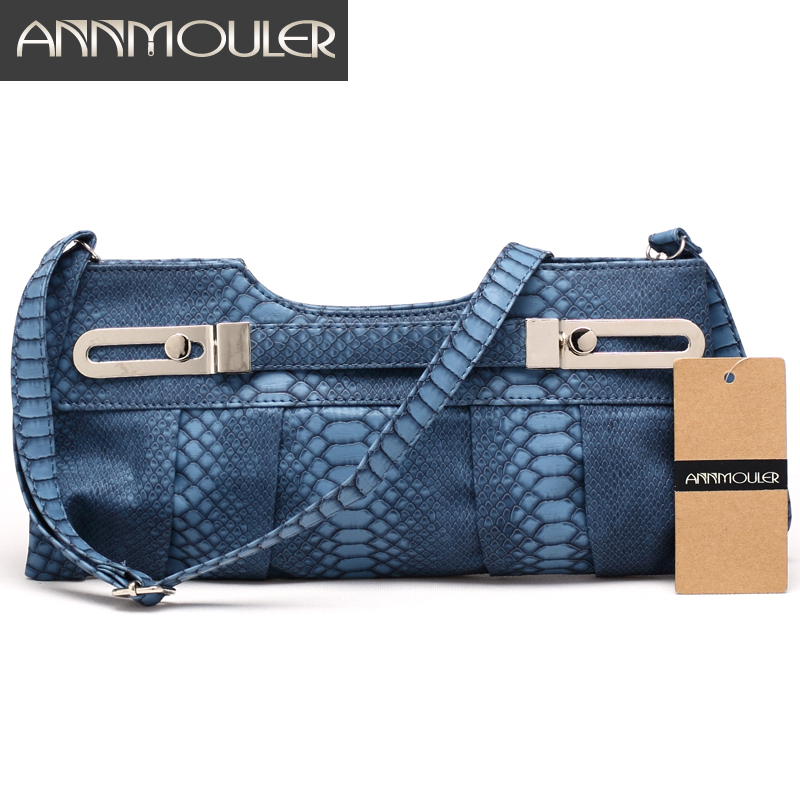 Annmouler New Design Bags for Women 5 Colors Pu Leather Shoulder Bag Snake Leather Handbags Metal Decoration Clutch Bags fashionable metal and pu leather design clutch bag for women