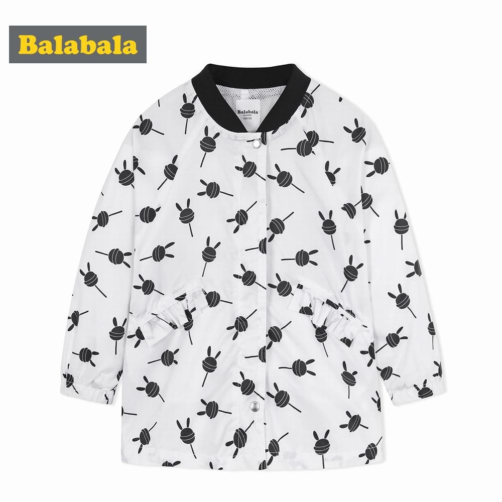 Balabala criança menina impresso jaqueta de beisebol crianças menina jaqueta zip blusão com fecho de pressão para a primavera outono