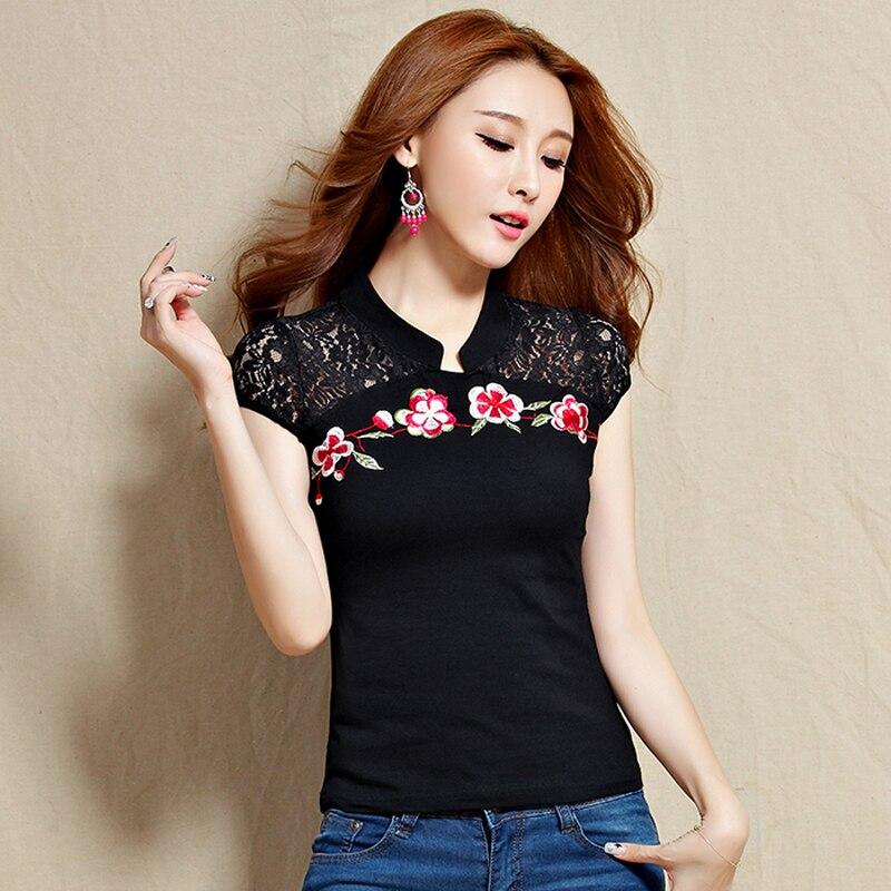 Camiseta Nueva Verano Estilo Manga Chino Corta Cuello Encaje Bordado Moda Redondo Mujer Floral ALR354jq