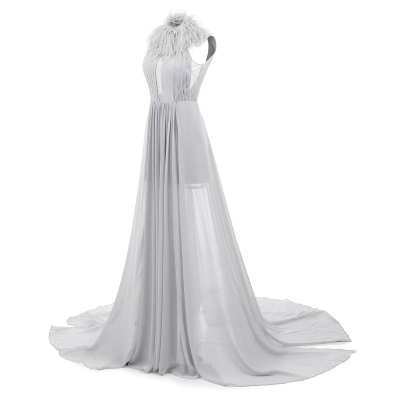 Sunvary Hof Trein Backless Lange Prom Dress 2018 Mouwloze Hoge Kraag - Jurken voor bijzondere gelegenheden - Foto 4