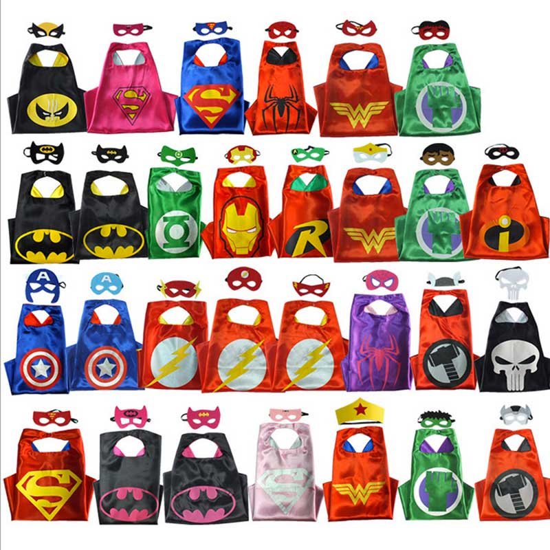 kids superhero capes halloween black super hero cape superman spiderman for cosplay party