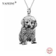 Women 925 Sterling Silver Customized Pet Dog Pendant Choker Necklace Personalized Animal Statement Necklaces For Pet Lovers