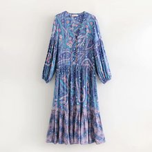 Women Summer Dresses Bohemian Floral Pleated V-Neck Long Empire Waist BB354