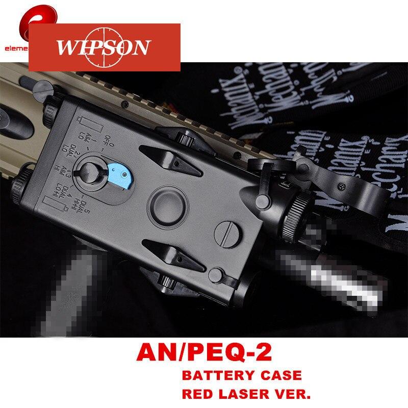 Wipson airsoft tático um PEQ-2 caixa de bateria caixa laser vermelho ver para 20mm trilhos nenhuma função l100mm * w65mm * h20mm peq boxx