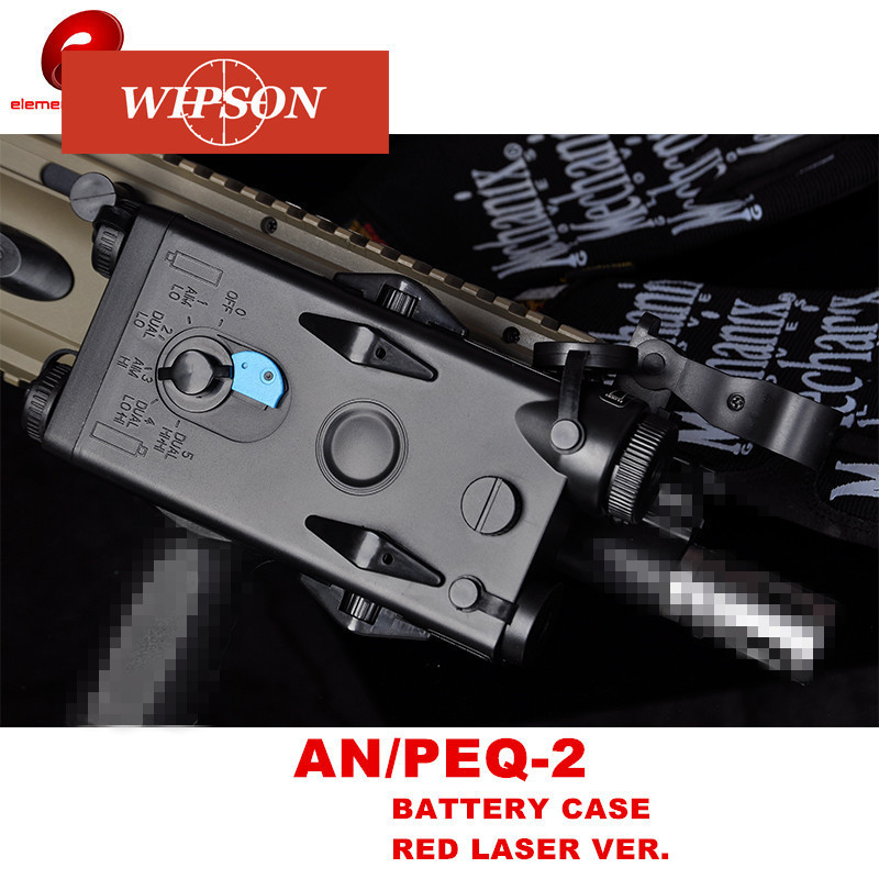 WIPSON Airsoft Tactical AN PEQ-2 Battery Case Box Red Laser Ver For 20mm Rails No Function L100mm*W65mm*H20mm PEQ Boxx