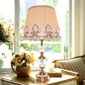 Antique Brass Luxury Modern Crystal Table Lamp Fabric Lampshade Living Room Bedroom Bedside Lights Home Lighting E27 110-220V