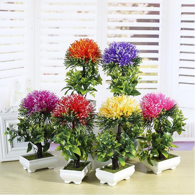 6 Farben Kunstliche Kunststoff Simulation Bonsai Blume Baum Hochzeit