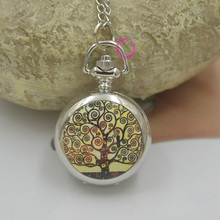 Topearl Jewelry Klimt Tree Life Quartz Necklace Pocket Watch woman lady girl fashion fob watches long chain silver antibrittle