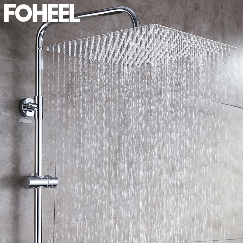FOHEEL 8/10/12/16 Inch Rainfall Shower Head Square Chrome Ceiling Rain Stainless Steel Showerhead Rainfall Shower Heads