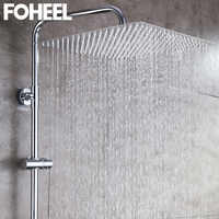 FOHEEL 8/10/12/16 inch Rainfall Shower Head Square Chrome Ceiling Rain Stainless Steel Showerhead Rainfall Shower Heads