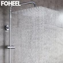 Square Shower-Head Chrome Rainfall Stainless-Steel Ceiling FOHEEL 8/10/12/16inch-rainfall