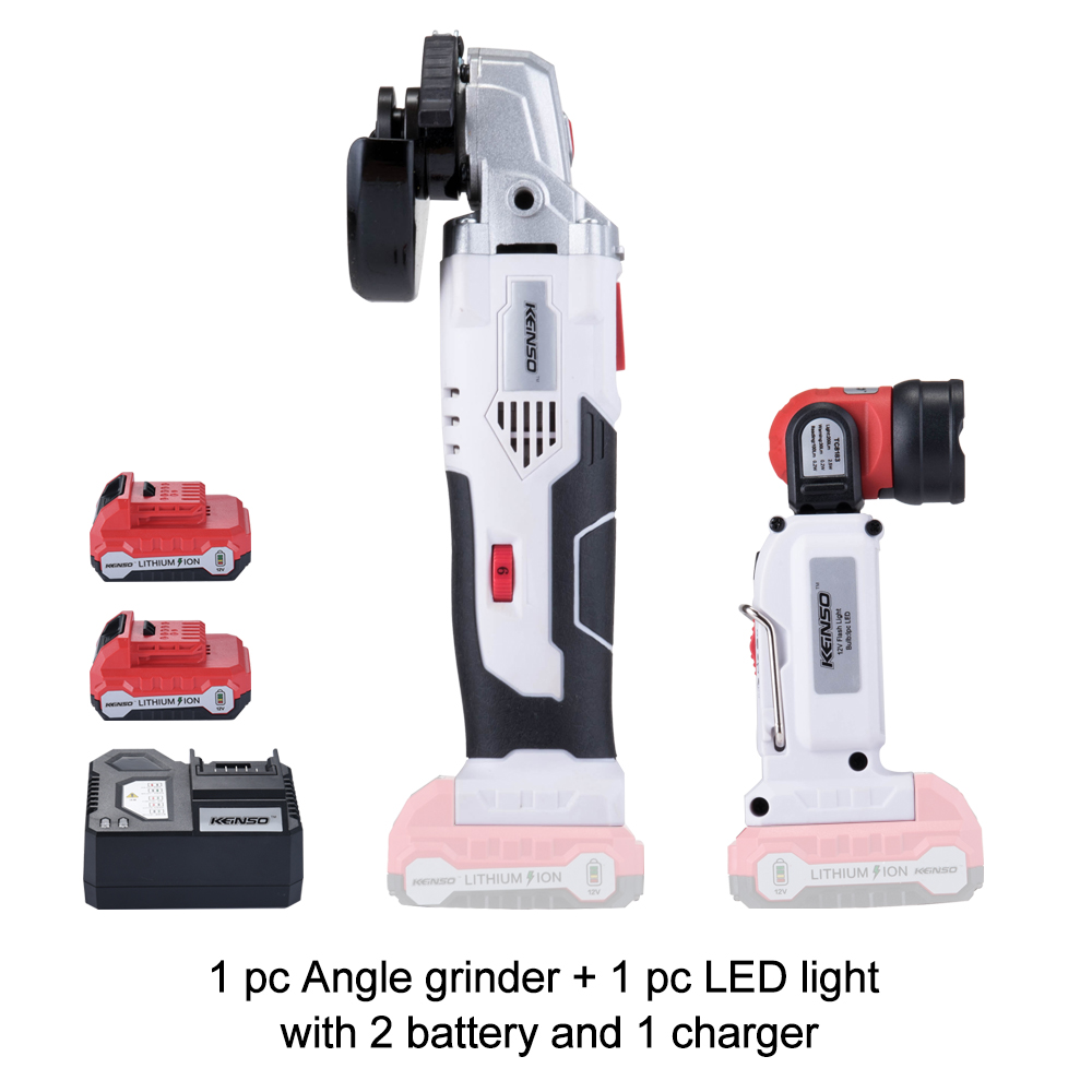 NEWON 12V Cordless Electric Lithium Power Tool Angle Grinder And Flashlight Lamp Portable Rechargeable Combo Kit With Battery