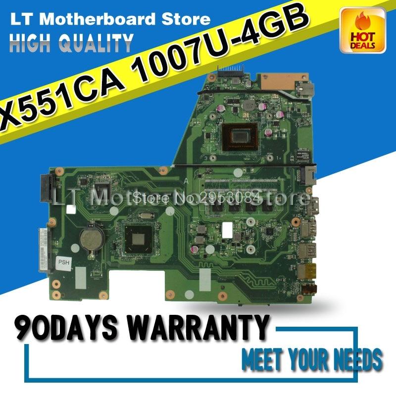 HOT!!! For ASUS F551CA R512CA X551CA X551CAP X551C Laptop motherboard X551CA mainboard REV2.2 1007u 4G Memory HD Graphics S-4 kefu x551ca motherboard for asus x551ca laptop motherboard x551ca mainboard rev2 2 1007u 100% tested freeshipping