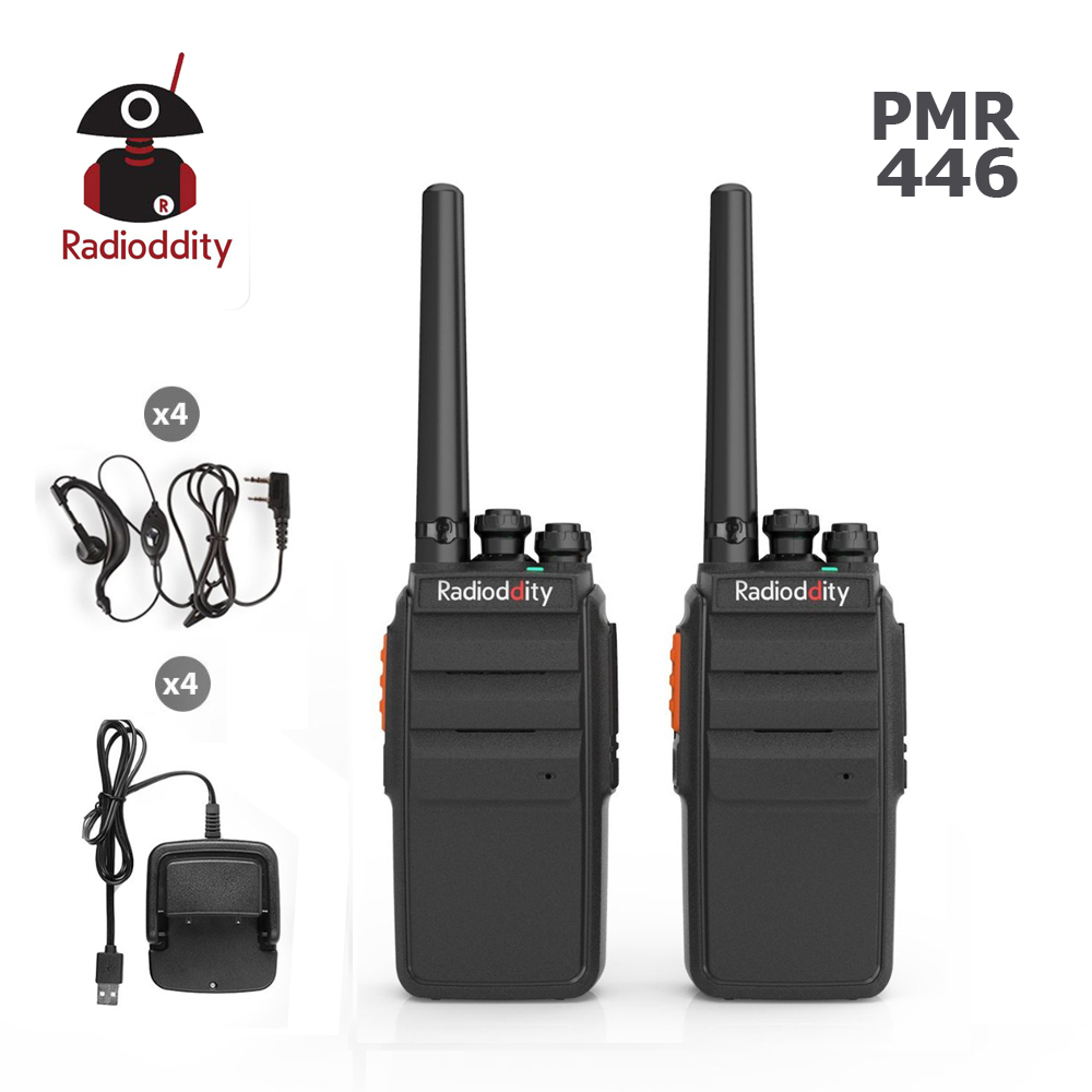 2 PCS Radioddity R2 PMR 446Mhz Two Way Radio 16CH UHF Scrambler VOX Walkie Talkie Long Range With USB Charger + Earpiece