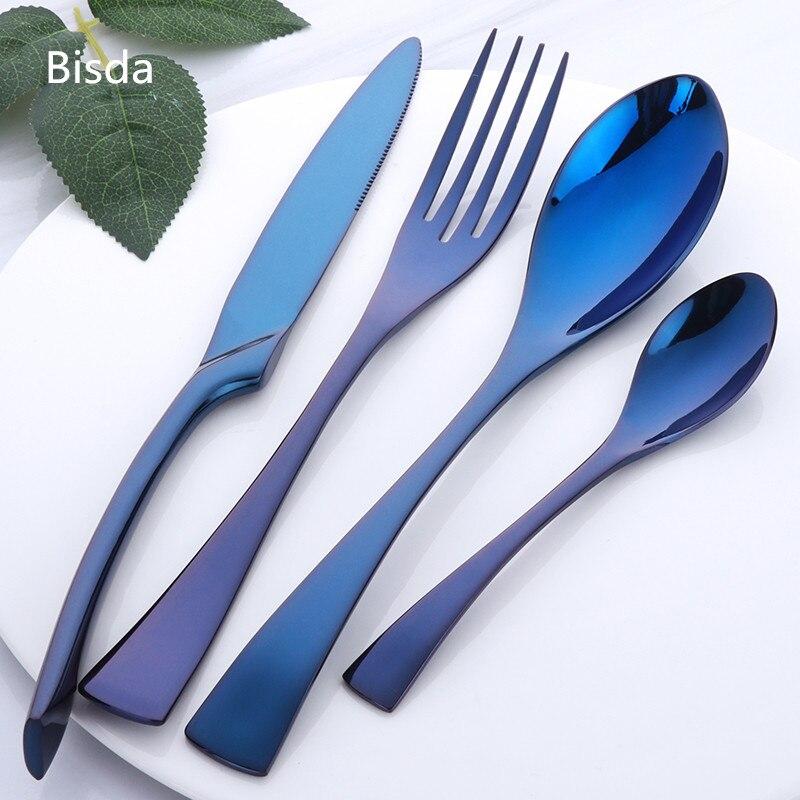 16 PCS Kaya Couverts Ensemble Violet Acier Inoxydable Couverts Poli Miroir Noir Restaurant Ensemble De Vaisselle De Luxe Table Couteau Fourchette