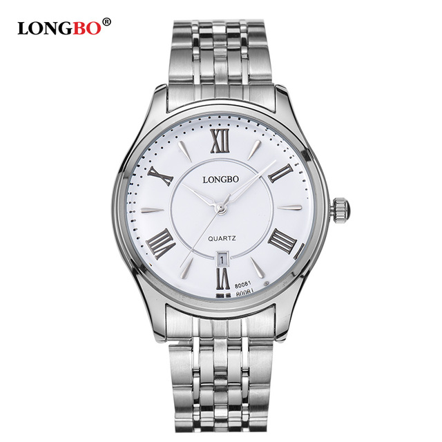 LONGBO Brand Business Quartz Watches Men Stainless Steel Band Roman Scale Waterproof Lovers Watches Male orologio uomo 80081