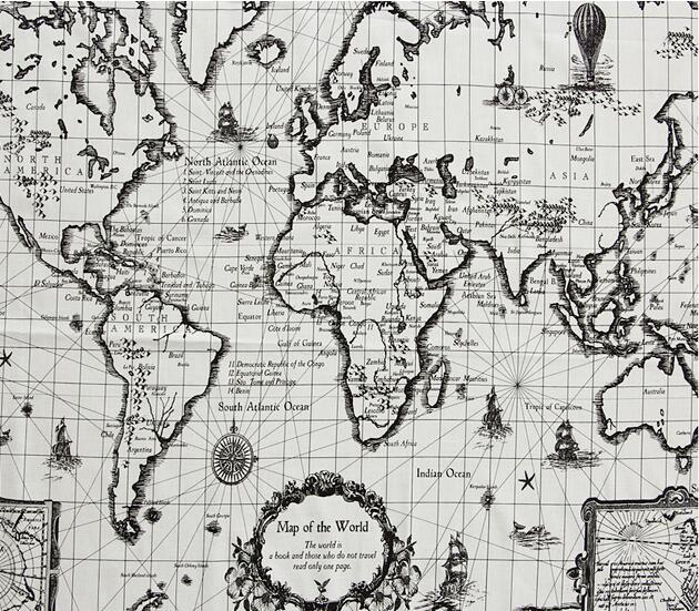 Natural,Crafts,Home Upholstery Cushions Fabric World Map Print