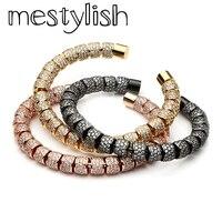 Mestylish Open Cuff Bracelet Micro Inlay Zircon Titanium Steel Bangle Bracelet Men Women Lover DIY Jewelry