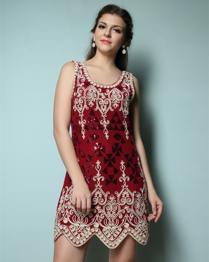 Elegant Embroidery Flower Heart Vintage Sequin Women