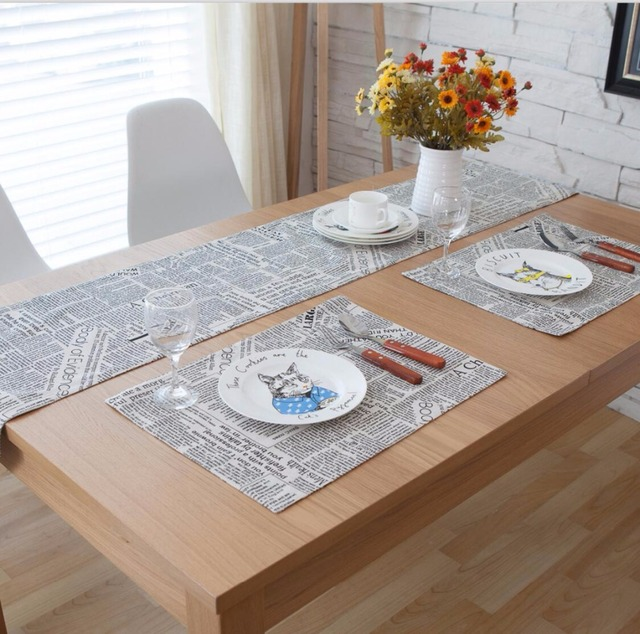 3/5/7 Pieces Linen Cotton News Paper Printed Table Runner And Placemat