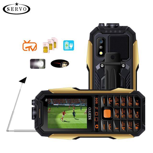 """SERVO X7 Handy 3 SIM Karten 2,4 """"Antenne Analog TV Stimme Ändern Laser Taschenlampe Power Bank Russische tastatur handys"""