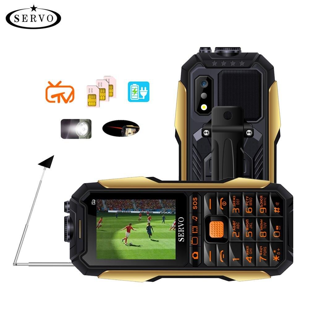 SERVO X7 Mobile Phone 3 SIM Cards 2.4 Antenna Analog TV Voice Changing Laser Flashlight Power Bank Russian keyboard Cell Phones