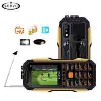 """SERVO X7 téléphone portable 3 cartes SIM 2.4 """"antenne analogique TV changement de voix Laser lampe de poche batterie externe clavier russe téléphone portable"""