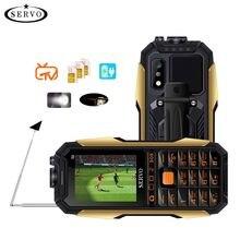 """SERVO X7 téléphone portable 3 cartes SIM 2.4 """"antenne analogique TV changement de voix Laser lampe de poche batterie externe clavier russe téléphones portables"""