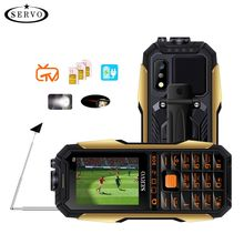 """Servo X7 Del Telefono Mobile 3 SIM Card 2.4 """"Antenna Tv Analogica Voice Modifica Torcia Elettrica Del Laser Accumulatori E Caricabatterie di Riserva Telefoni Cellulari Tastiera Russa"""