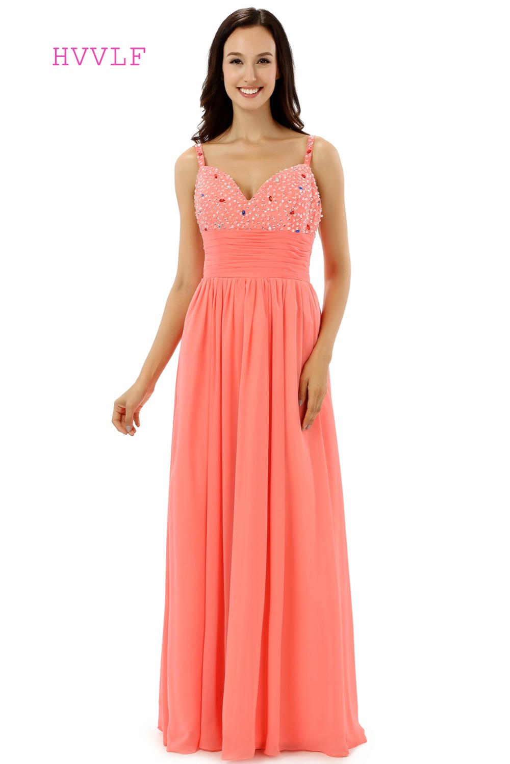 Coral Robe De Soiree 2019 A-line Spaghetti Straps Chiffon Beaded Crysals Women Long   Prom     Dresses     Prom   Gown Evening   Dress
