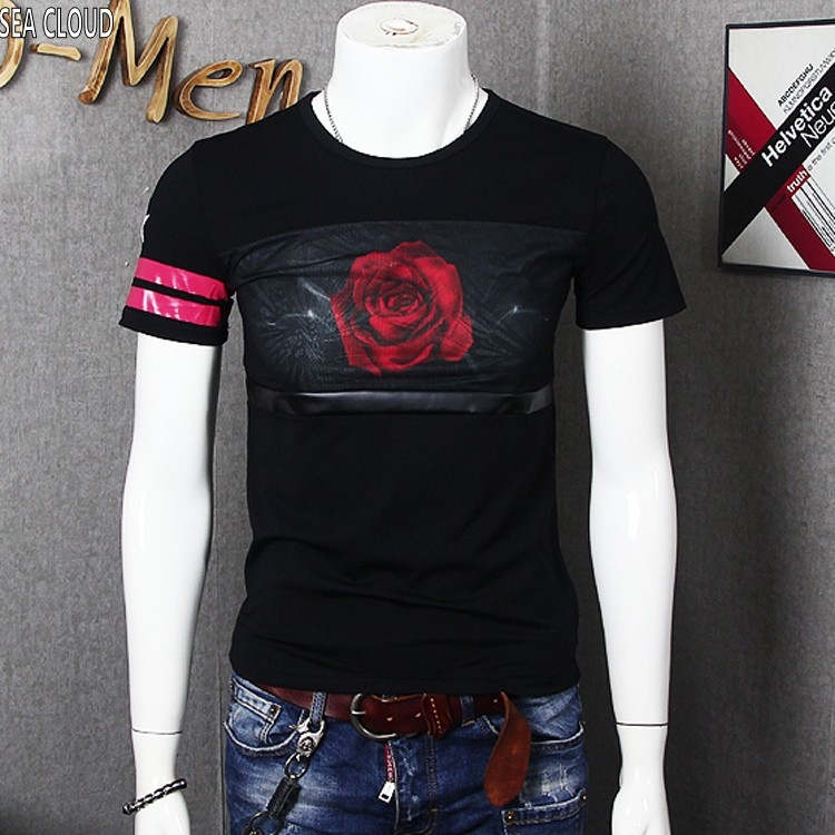 clothes funny t shirts tshirt t shirt summer clothing fat 7xl 8xl cotton o neck Character with rose short sleeve Casual t shirt