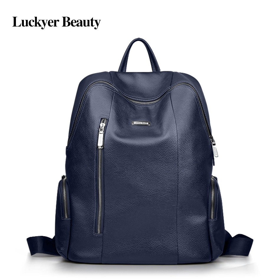LUCKYER BEAUTY <font><b>Genuine</b></font> <font><b>Leather</b></font> <font><b>Backpack</b></font> <font><b>Unisex</b></font> Youth Teenage School Bag Fashion Korean Style Female Laptop Bag High Quality image